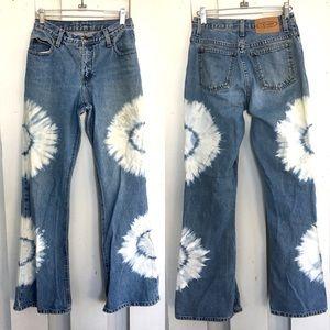 Vintage Tie Dye Boho Hippie Flare Jeans